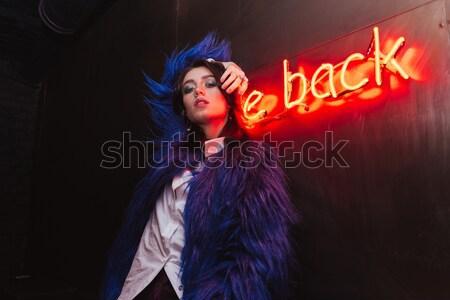 Bać kobieta napis powrót młoda kobieta Zdjęcia stock © deandrobot