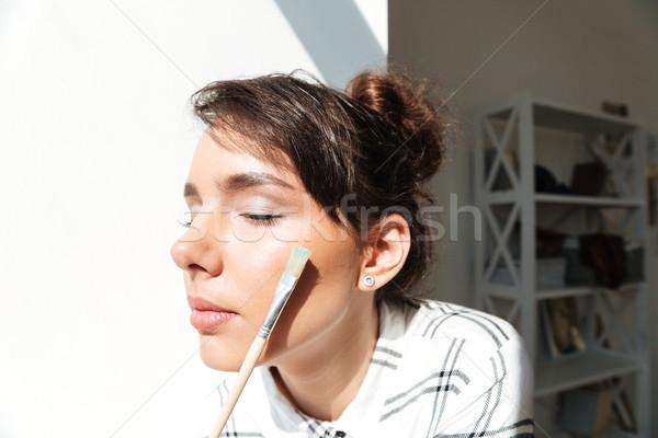 Portret dziewczyna artysty młoda dziewczyna Zdjęcia stock © deandrobot