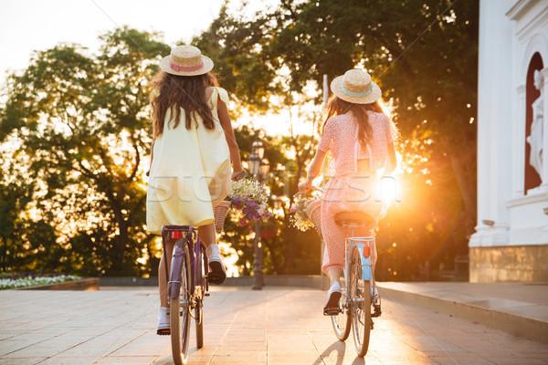 вид сзади изображение два молодые дамы Велосипеды Сток-фото © deandrobot