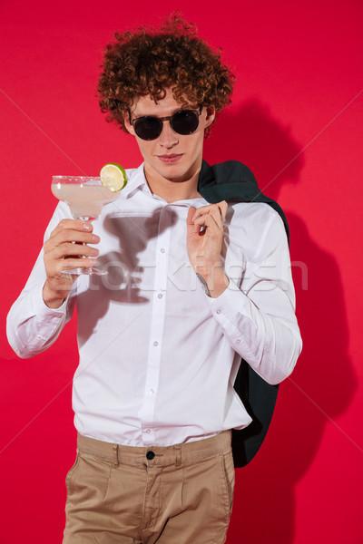 Przystojny elegancki człowiek biały shirt kurtka Zdjęcia stock © deandrobot
