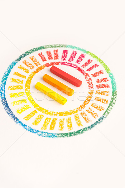 Close up photo of circle drawn with colorful pastel chalks with  Stock photo © deandrobot