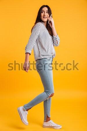 Imagen feliz Asia mujer skateboard Foto stock © deandrobot