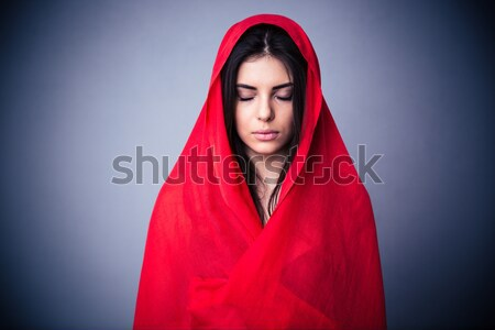 Close-up photo of ill young woman in warm casual wear touching h Stock photo © deandrobot