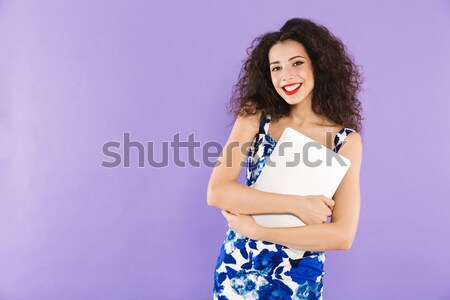 Cheerful lady showing tabler computer with blank screen isolated Stock photo © deandrobot