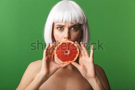 Beauty portrait of an attractive half naked elderly woman Stock photo © deandrobot
