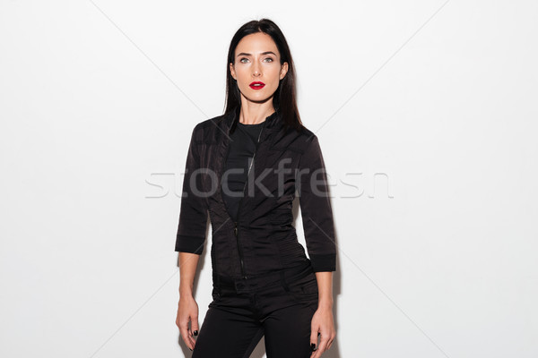 Elképesztő nő piros ajkak áll izolált kép Stock fotó © deandrobot