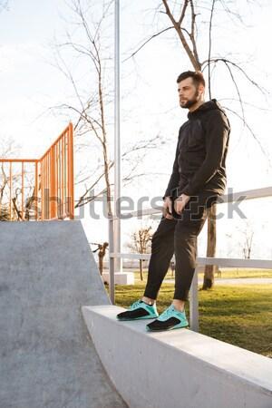 Portré fáradt fiatal sportoló fülhallgató pihen Stock fotó © deandrobot