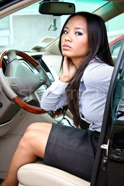 beautiful brunette asian businesswoman in a car Stock photo © deandrobot