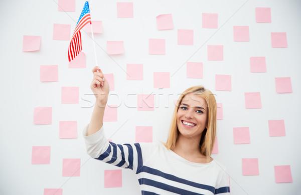 Stok fotoğraf: Kız · ABD · bayrak · gülen · vatansever