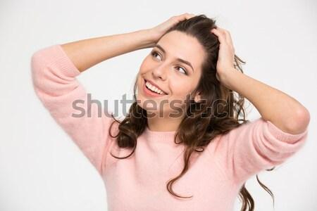 Heureux femme serviette coiffure jeune femme Photo stock © deandrobot