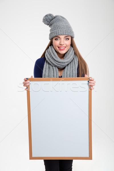 Szczęśliwy kobieta pokładzie portret odizolowany Zdjęcia stock © deandrobot