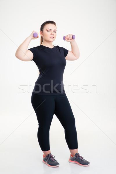 Grasa mujer entrenamiento pesas retrato Foto stock © deandrobot