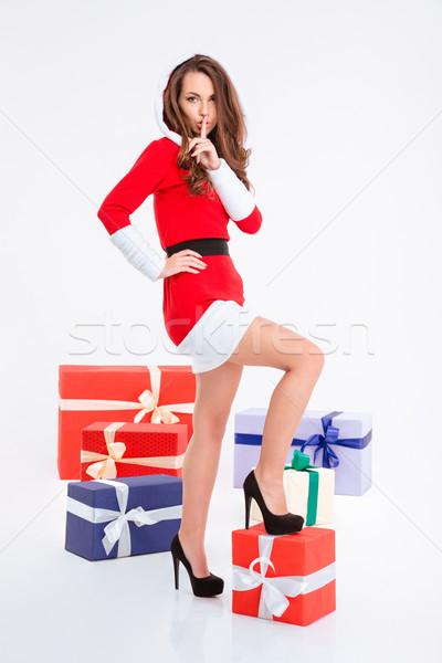 женщину Дед Мороз ткань пальца губ Сток-фото © deandrobot
