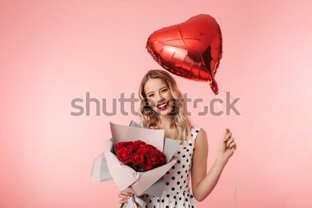 Tendre charmant jeune femme rouge coeur Photo stock © deandrobot