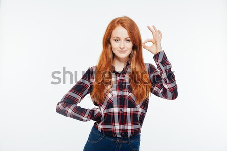 Woman showing ok sign Stock photo © deandrobot