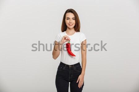 Közelkép portré gyengéd barna hajú fiatal nő megérint Stock fotó © deandrobot