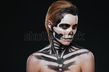 Portrait of girl with fearful halloween makeup Stock photo © deandrobot
