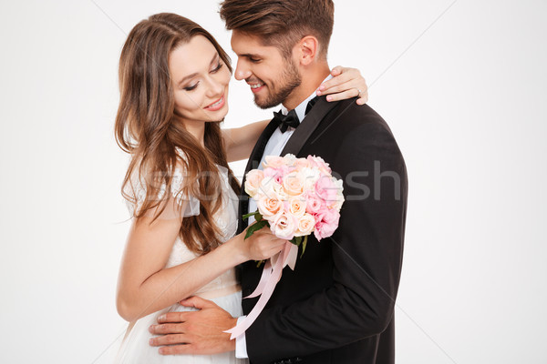 Szépség pár szemtől szembe esküvő háttér öltöny Stock fotó © deandrobot