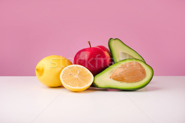 Ayarlamak taze sulu limon elma avokado Stok fotoğraf © deandrobot