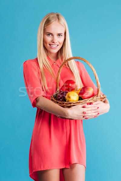 красивой плетеный корзины полный плодов Сток-фото © deandrobot