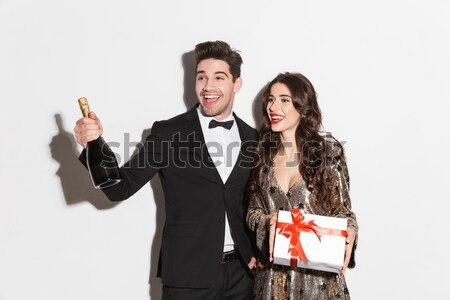 Portrait of friends with champagne Stock photo © deandrobot