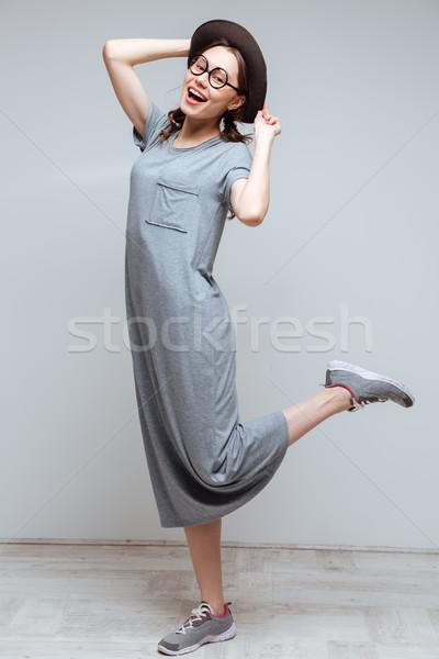垂直 画像 女性 オタク ポーズ スタジオ ストックフォト © deandrobot