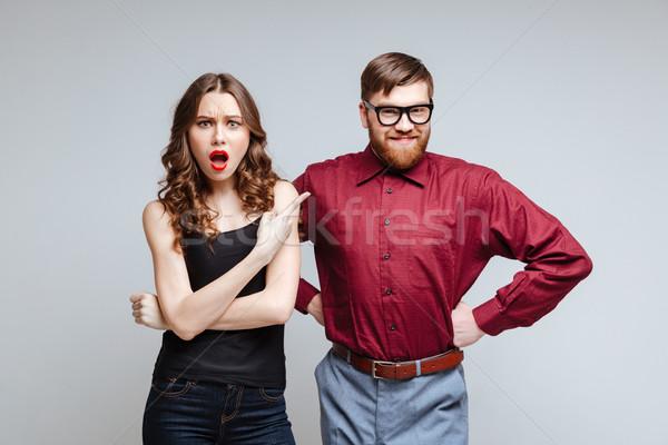 Сток-фото: женщина · улыбается · мужчины · NERD · смешные · одежды