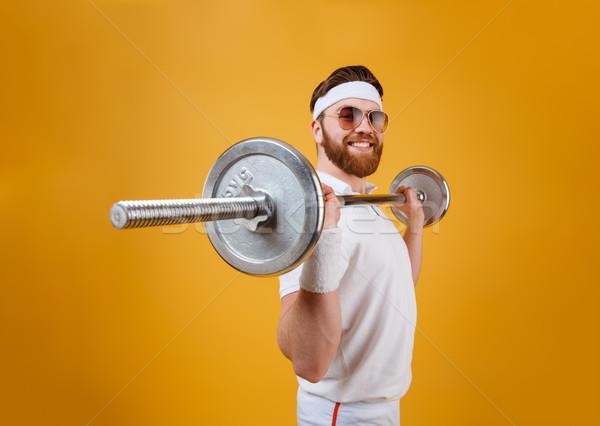 笑みを浮かべて 小さな スポーツマン スポーツ バーベル ストックフォト © deandrobot