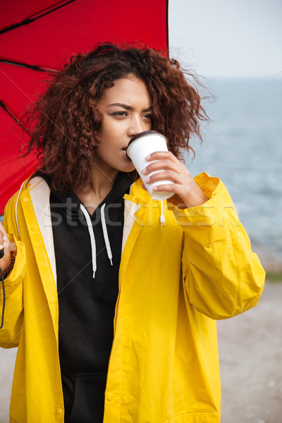 Concentrated african curly young lady walking outdoors and drinking coffee. Stock photo © deandrobot