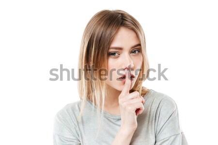 удивительный серьезный Lady молчание жест Сток-фото © deandrobot