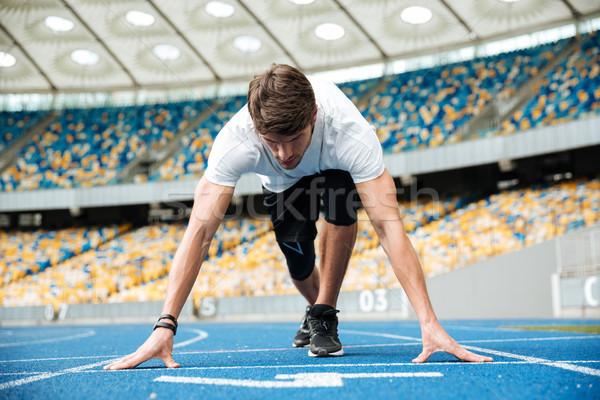 мужчины спортсмена Постоянный положение готовый работает Сток-фото © deandrobot