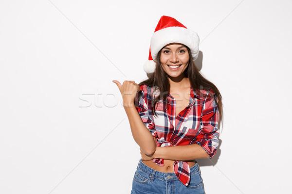 Fotó fiatal derűs lány kalap kockás Stock fotó © deandrobot