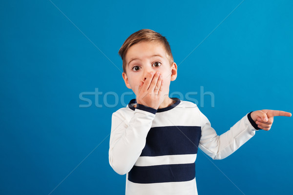 Surprised young boy in sweater pointing away and covering mouth Stock photo © deandrobot