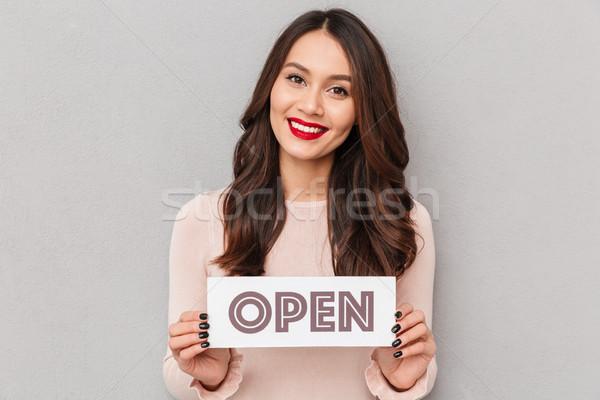 肖像 笑みを浮かべて 若い女性 長い 茶色の髪 ストックフォト © deandrobot
