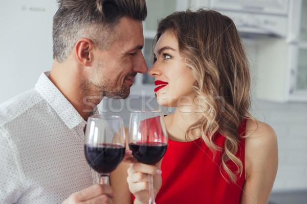 Portrait of a loving romantic smart dressed couple Stock photo © deandrobot