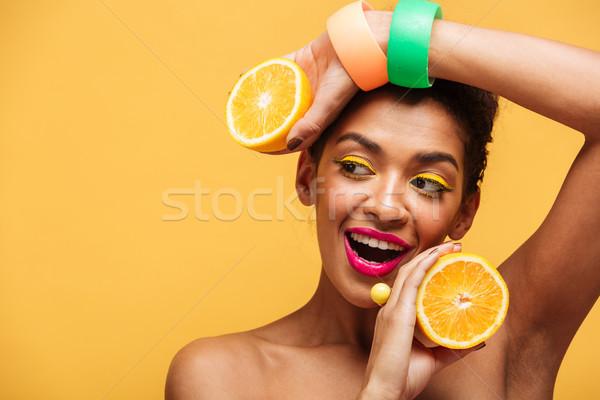 肖像 笑みを浮かべて アフロ アメリカン 女性 スタイリッシュ ストックフォト © deandrobot