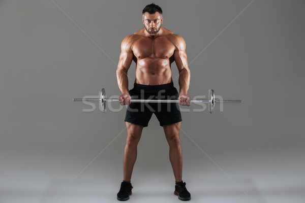 Full length portrait of a concentrated strong shirtless male bodybuilder Stock photo © deandrobot