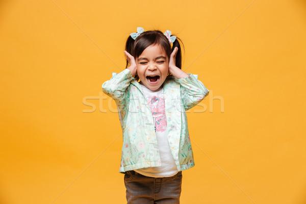 Schreeuwen meisje kind afbeelding permanente Stockfoto © deandrobot