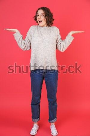 Portret szczęśliwy podniecony dziewczyna Zdjęcia stock © deandrobot