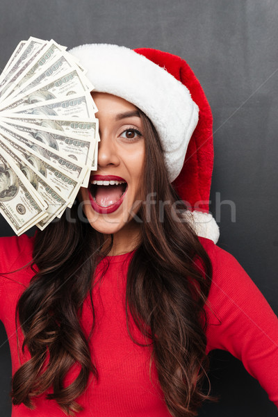 вертикальный изображение счастливым брюнетка женщину красный Сток-фото © deandrobot