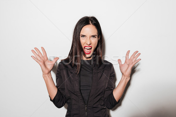 Angry screaming woman with red lips Stock photo © deandrobot