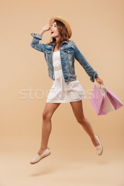 Tam uzunlukta portre genç kız yaz elbise Stok fotoğraf © deandrobot