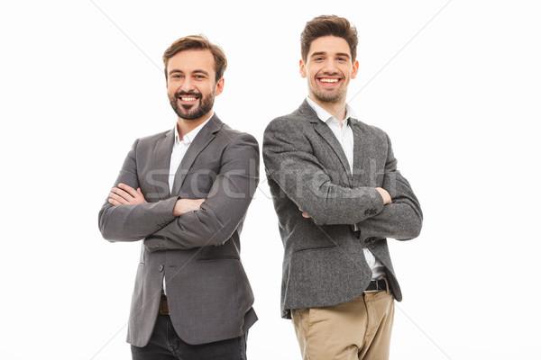 Portré kettő üzletemberek áll karok összehajtva Stock fotó © deandrobot