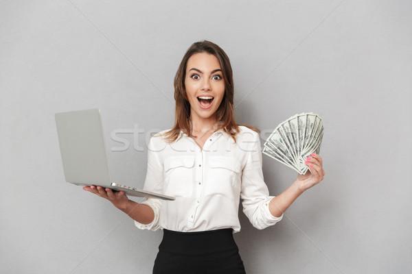 Сток-фото: портрет · счастливым · молодые · деловой · женщины · портативного · компьютера