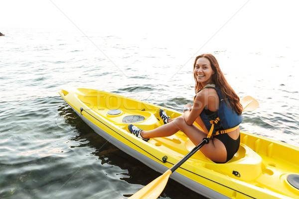 Mulher caiaque lago mar barco quadro Foto stock © deandrobot