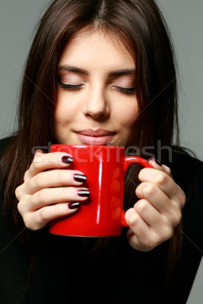 Portre genç mutlu kadın lezzet Stok fotoğraf © deandrobot