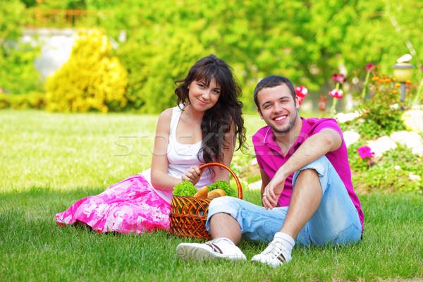 Boldog fiatal pér piknik szabadtér nyár nap Stock fotó © deandrobot