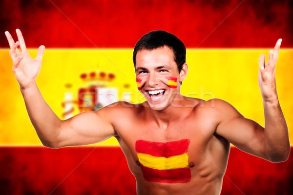 Portre İspanyolca futbol fan İspanya bayrak Stok fotoğraf © deandrobot