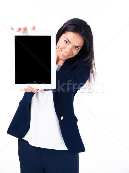 деловая женщина экране счастливым белый Сток-фото © deandrobot