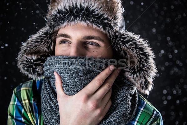 Portret zamyślony człowiek hat szalik Zdjęcia stock © deandrobot
